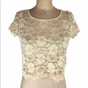 Aritzia Cream Lace Crop Top Size XS
